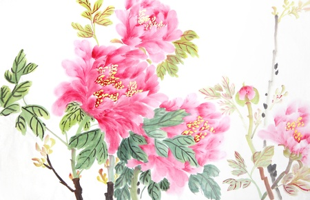 Photo pour peony flower,Traditional chinese ink and wash painting. - image libre de droit