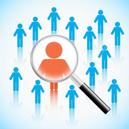 Vektor für Human resource concept, magnifying glass searching people - Lizenzfreies Bild