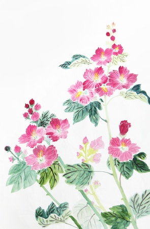 pink and red flower,Traditional chinese ink and wash painting.