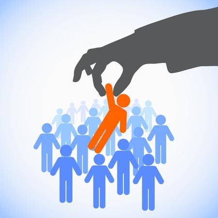Illustration pour Human Resources concept: choosing the perfect candidate for the job - image libre de droit
