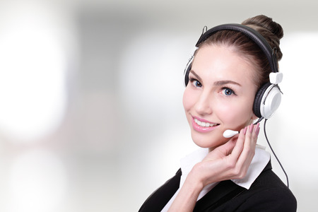 Business Woman customer service worker, call center smiling operator with phone headset