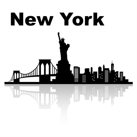 New york skyline - black and white vector illustration
