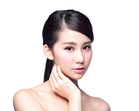 Beautiful Skin care woman Face isolated on white background. asian Beautyの写真素材