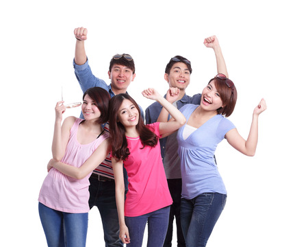Photo pour Happy group young people. Isolated on white background, asian - image libre de droit