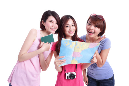 Happy group travel women hold camera, passport and map. Isolated on white background, asian