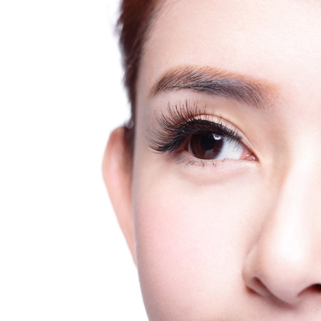 Beautiful woman eye with long eyelashes. asian modelの写真素材