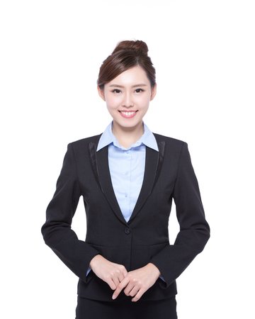 business woman isolated on white background, asian beauty