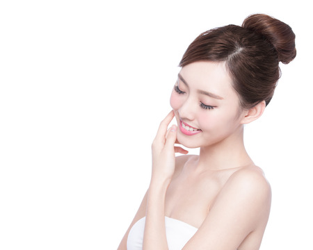 Foto de Beautiful Skin care woman enjoy and relax isolated on white background. asian Beauty - Imagen libre de derechos