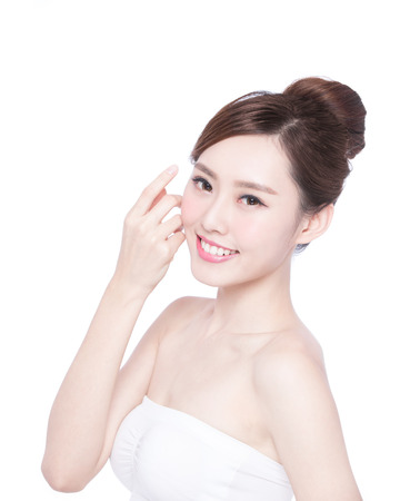 Photo pour Beautiful Skin care woman Face smile to you isolated on white background. asian Beauty - image libre de droit