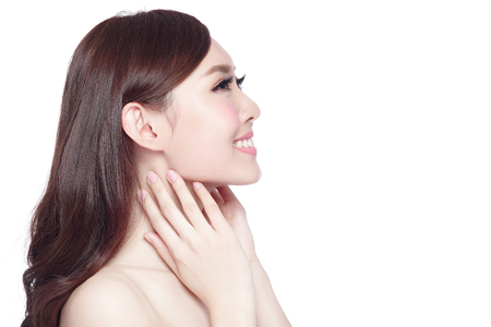 Photo for profile of beauty woman with health skin, teeth and hair isolated on white background, asian beauty - Royalty Free Image