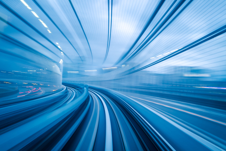 Photo for Subway tunnel with Motion blur of a city from inside, great for your design - Royalty Free Image