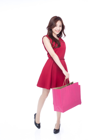 Photo for happy shopping young woman show bags - isolated on white background, full body, asian beauty - Royalty Free Image