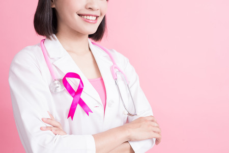 Photo for doctor with breast cancer prevent concept on the pink background - Royalty Free Image