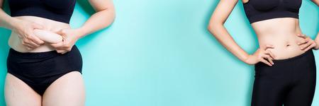 Foto de woman with fat and slim figure on the green background - Imagen libre de derechos
