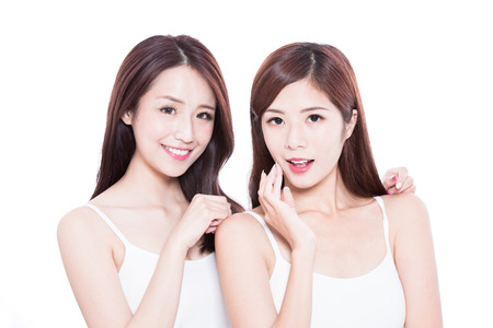 Foto de two beauty skincare woman on the white background - Imagen libre de derechos