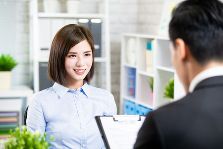 Photo pour confident asian woman talk to interviewer for a job interview - image libre de droit