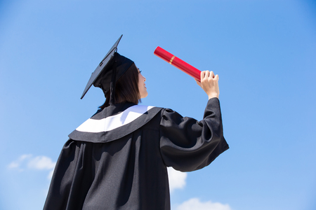 Photo for asian graduate student feel free with sky background - Royalty Free Image
