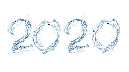 Photo pour Happy New Year 2020 by Pure splash of water isolated on white background - image libre de droit