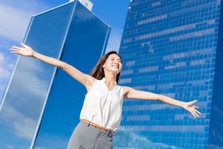 Photo for Asian successful business woman with confident smile and feel free - Royalty Free Image