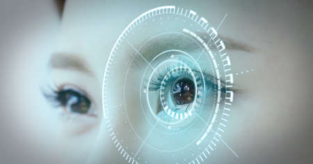 Foto de Woman eye with futuristic vision system-Concept of control and security in the accesses technology - Imagen libre de derechos