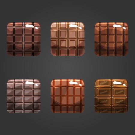Illustration pour Set of shiny chocolate  square button. Illustration for game design. - image libre de droit