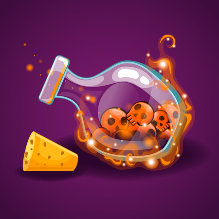 Bottle With Skull And Magic Smoke Royalty Free Vector Graphics