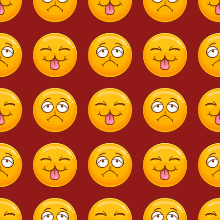 Illustration for Seamless pattern with cartoon smile face. Emotion illustration - Royalty Free Image
