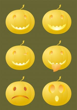 6 standard emoticons made of Halloween pumpkins