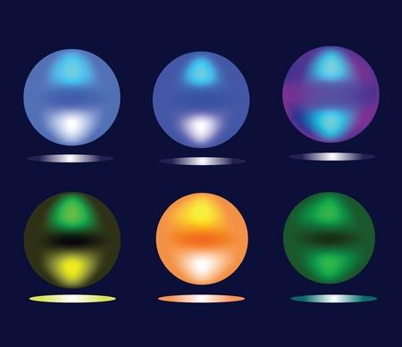 Burning multi-colored spheres