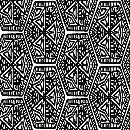 Illustration pour Black and white ethnic hexagonal seamless vector pattern. Unisex surface print design for fabrics, stationery, textiles, wrapping paper, gift wrap, and packaging. - image libre de droit