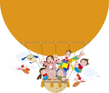 Ilustración de Family who took a balloon - Imagen libre de derechos