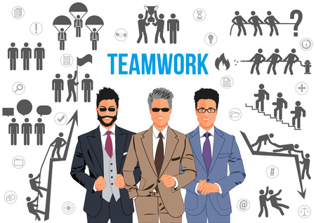 Teamwork design concept - team of business professionals working together and helping each other in times of prosperity or crisis. Together they are able to achieve more ambitious goals