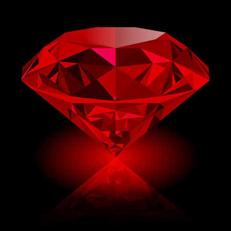 Illustration pour Realistic red ruby with reflection and red glow isolated on black background. Shining red jewel, colorful gemstone. can be used as part of icon, web decor or other design. - image libre de droit