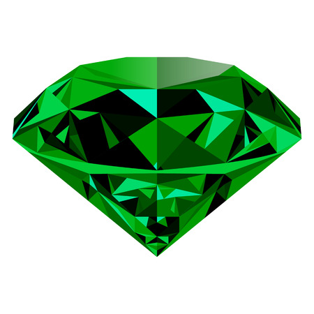 Ilustración de Realistic shining green emerald jewel isolated on white background. Colorful gemstone that can be used as part of icon, web decor or other design. - Imagen libre de derechos