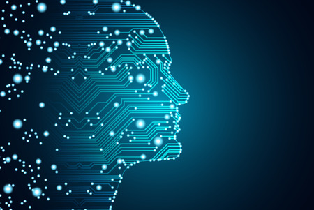 Illustration pour Big data and artificial intelligence concept. Machine learning and cyber mind domination concept in form of men face outline outline with circuit board and binary data flow on blue background. - image libre de droit