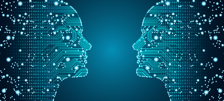 Big data, artificial intelligence, machine learning in online face-to-face marketing concept in form of two man faces outline with circuit board and binary data flow on blue background.