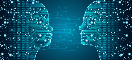 Big data, artificial intelligence, machine learning in online face-to-face parent child communciation in form of child and women faces outline with circuit board and binary data flow.