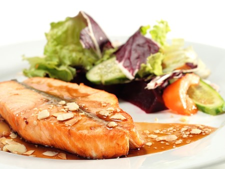 Grilled Salmon with Sauce and Vegetables