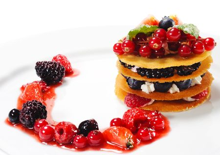 Dessert with Berries and Fresh Mint