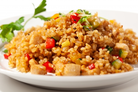 Chinese Cuisine - Fried Rice with Vegetables and Meatの写真素材