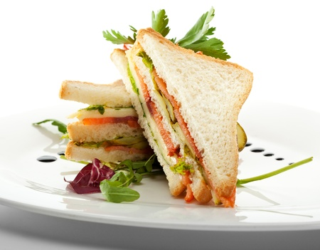 Club Sandwich with Salmon and Vegetables
