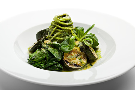 Green Spaghetti with Zucchini, Fresh Spinach and Pesto Sauce