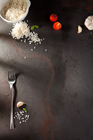 Foto de Food Ingredient on Black Slate Background - Imagen libre de derechos