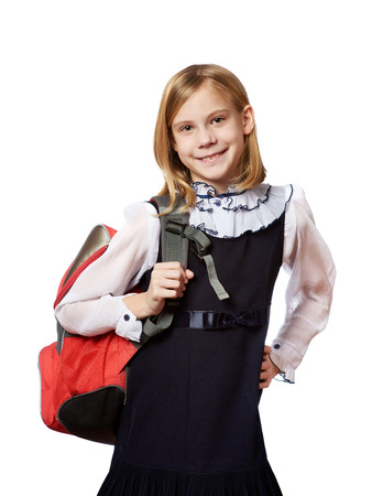 Girl standing with school bag. Education and school conceptの写真素材