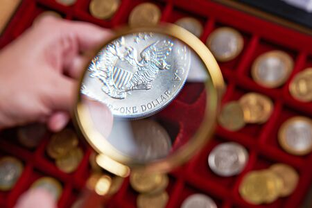 American dollar under magnifying glass in hands of numismatist
