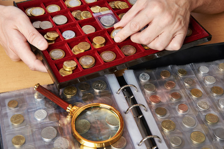 Numismatist with his collection of coins close-up
