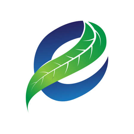 Illustration pour green and blue letter e for eco companies with leaf illustration - image libre de droit