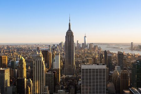 New york city skyline with Empire State Building, View from the Rockefeller Center viewing platform 'Top of the Rock'