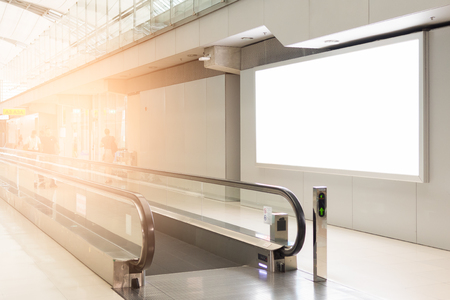 Photo pour beautiful blank advertising billboard at airport background large LCD advertisement - image libre de droit