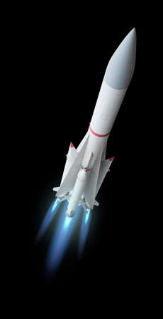 Foto de Flying multistage space rocket or anti-aircraft air defense missile with fire trail. Isolated over the black background - Imagen libre de derechos